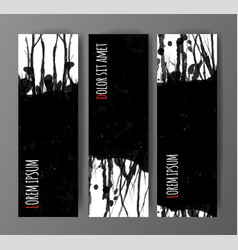 banners with black grunge splashes on realistic vector image vector image
