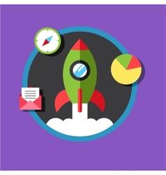Business start up idea template Start up rocket vector image