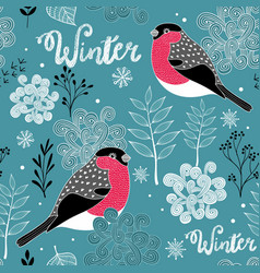 seamless winter pattern of frozen forest and birds vector image