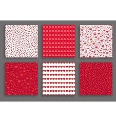Valentine Day Hearts Patterns Set vector image