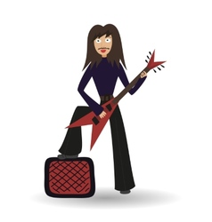 Young musician of rock band rock guitarist playing vector image