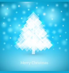 abstract christmas tree made of white squares vector image