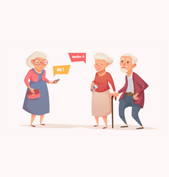elderly couple and an old woman in the style of a vector image vector image