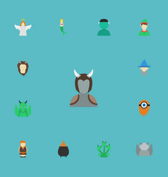 Flat icons dinosaur character lion and other vector