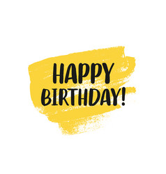 happy birthday greeting card design with lettering vector image