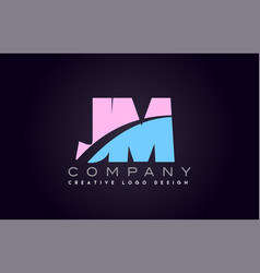 jm alphabet letter join joined letter logo design vector image vector image