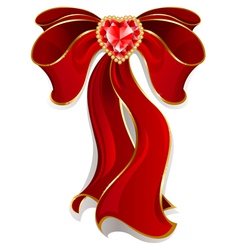 red bow with ruby with heart vector image
