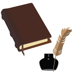 Brown book and inkwell vector image vector image
