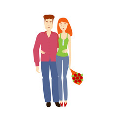 flat young couple hugging each other vector image