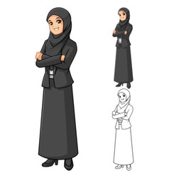 Muslim Businesswoman Wearing Black Veil or Scarf vector image vector image