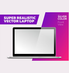 super realistic notebook with blank screen vector image