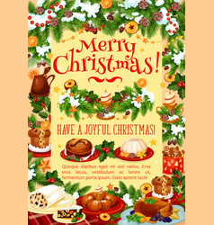 christmas dinner greeting banner with turkey cake vector image vector image