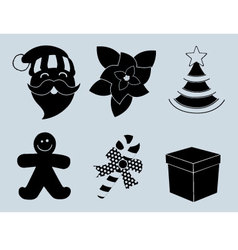 Christmas set of icons collection silhouette vector image vector image