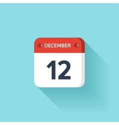 December 12 isometric calendar icon with shadow vector