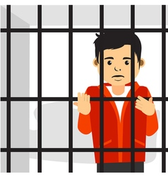 Handsome Guy Inside Jail vector image vector image