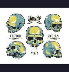 Skulls Hand Drawn Set 3 vector image vector image