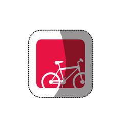 sticker color square button with contour sport vector image