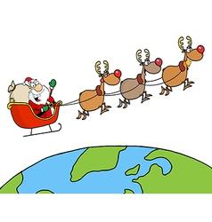 Team Of Reindeer And Santa vector image
