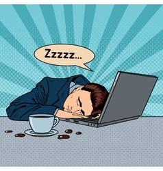 Tired Businessman Sleeping on a Laptop Pop Art vector image vector image