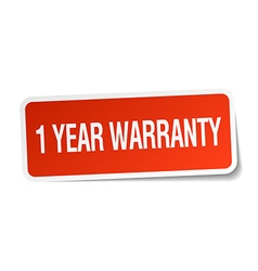 1 year warranty red square sticker isolated on vector