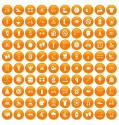 100 men health icons set orange vector