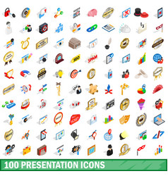 100 presentation icons set isometric 3d style vector