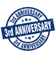 3rd anniversary blue round grunge stamp vector image