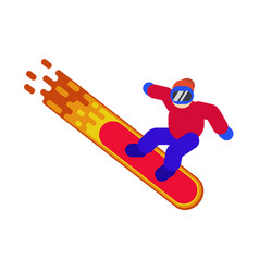 a picture of a snowboarder isolated in sportswear vector image