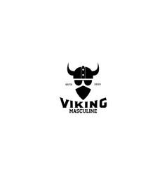 A viking head scandinavia with mask logo design vector