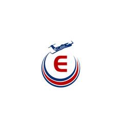 Airplane logo initial e vector