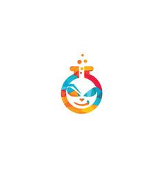 Alien lab logo template design vector