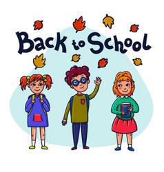 back to school funny children with schoolbooks vector image