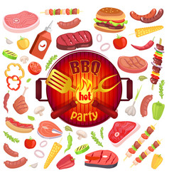 bbq party icons meat veggies vector image