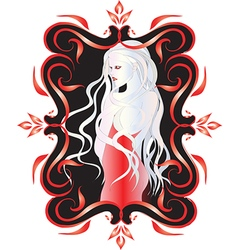 Beautiful vampire woman with long white hair i vector image