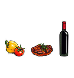 beef steak vegetables and red wine bottle vector image