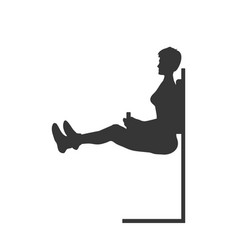 Black silhouette push up girl press exercise vector