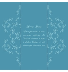 Blue card design with ornate floral pattern vector image