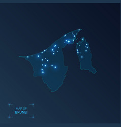 Brunei map with cities luminous dots - neon vector