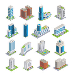 Buildings isometric set vector