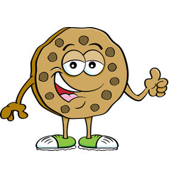 Cartoon chocolate chip cookie giving thumbs up vector