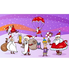 Cartoon group of santa clauses vector