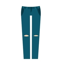 Cartoon jeans trousers details silhouettes of vector image