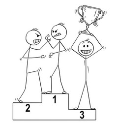 cartoon of three man on sport winners podium two vector image