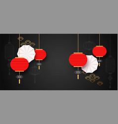 Chinese celebration paper cut lantern background vector