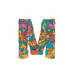 Colorful ornamental alphabet letter m font vector