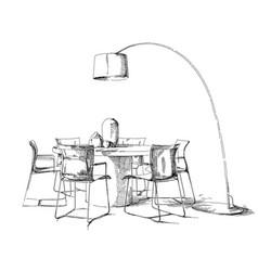 comfortable modern interior hand drawing vector image