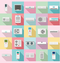 conditioner air filter vent icons set flat style vector image