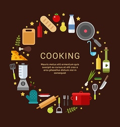 Cooking Icons in the Shape of Circle in Flat vector image