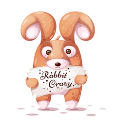 crazy rabbit with big eye vector image
