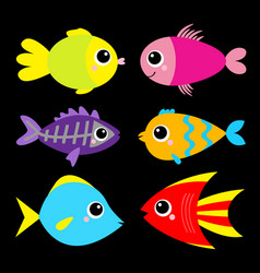 cute fish icon set cartoon kawaii funny character vector image